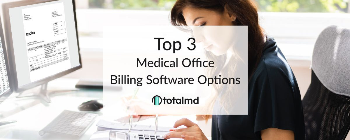 woman at desk using medical office software