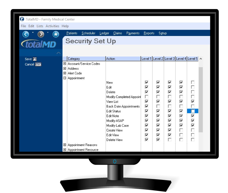 TotalMD software security set up against embezzlement