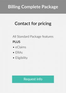 pricing table for medical billing software with eclaims