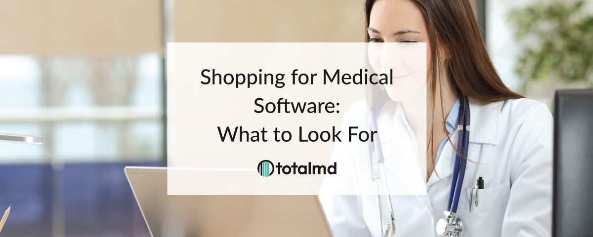 person at computer shopping for medical software